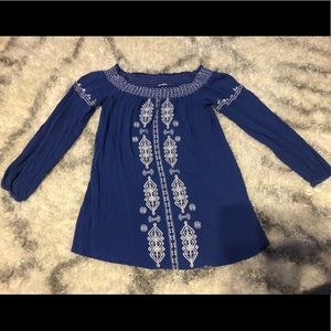 Chico's Off the Shoulder Embroidered Blue Top
